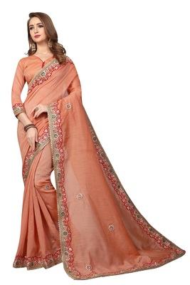 Dark peach embroidered cotton silk saree with blouse