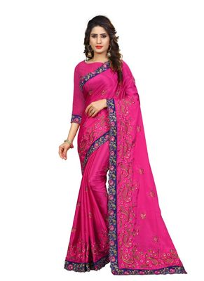Dark pink embroidered chiffon saree with blouse