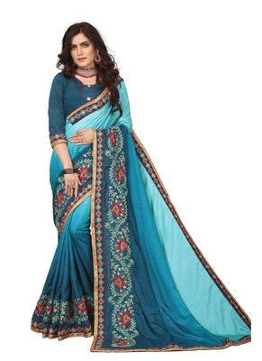 Light blue embroidered silk saree with blouse