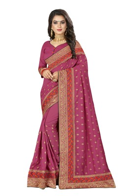 Magenta embroidered art silk saree with blouse