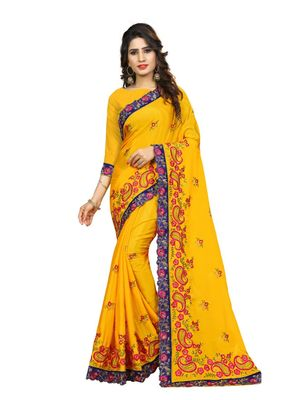 Mustard embroidered chiffon saree with blouse