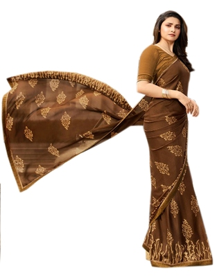 chocolate  printed Georgette sari with blouse