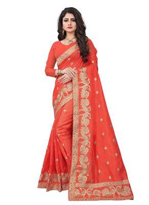 Orange embroidered art silk saree with blouse