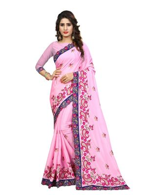 Pink embroidered chiffon saree with blouse