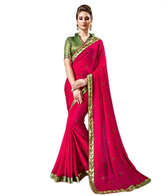 Rani pink printed chiffon saree with blouse