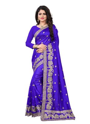 Royal blue embroidered art silk saree with blouse