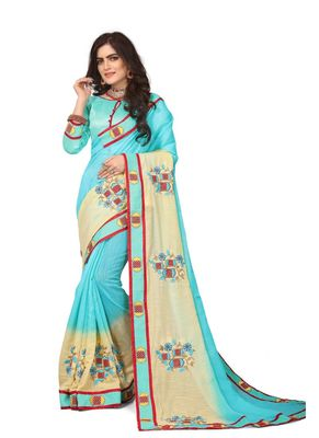 Sky blue embroidered cotton silk saree with blouse