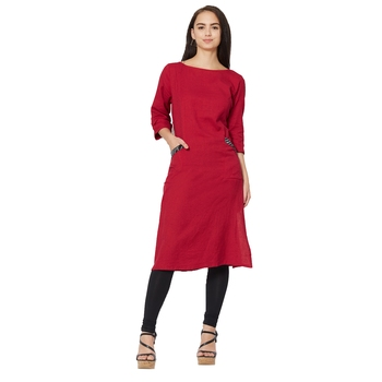 Maroon plain cotton kurtas-and-kurtis