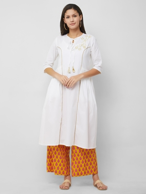 White embroidered cotton kurta-sets