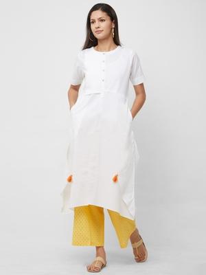 White plain cotton kurta-sets
