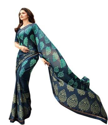 Blue printed Georgette sari with blouse