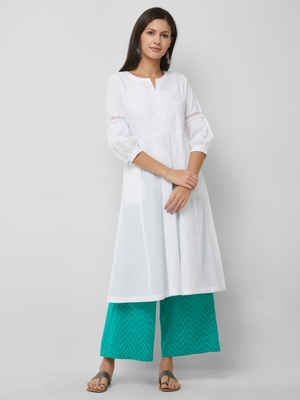 White plain cotton kurta-sets