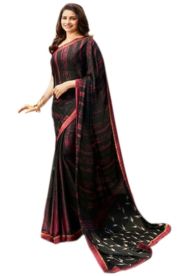 Black printed Georgette sare with blouse