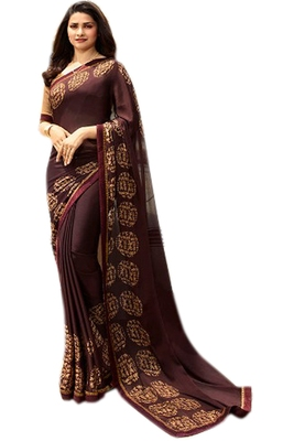 Berry printed Georgette saree with blouse