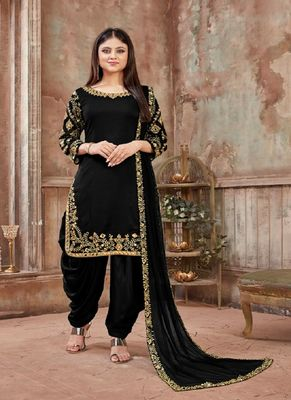 Black embroidered art silk salwar