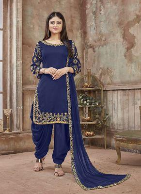 Navy-blue embroidered art silk salwar