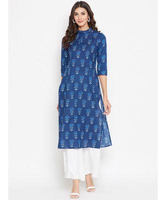 blue cotton printed kurti