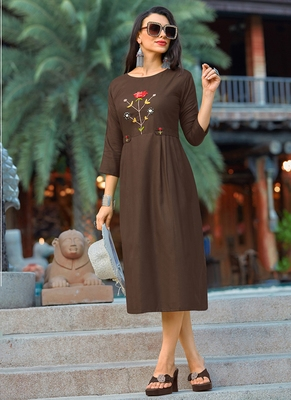 brown Women's A-Line Cotton Kurti