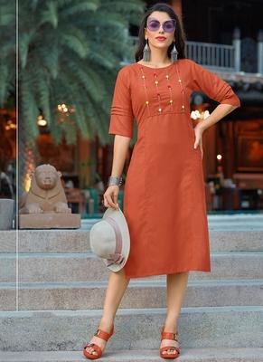 orange Women's A-Line Cotton Kurti