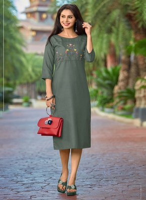 grey Women's A-Line Cotton Kurti