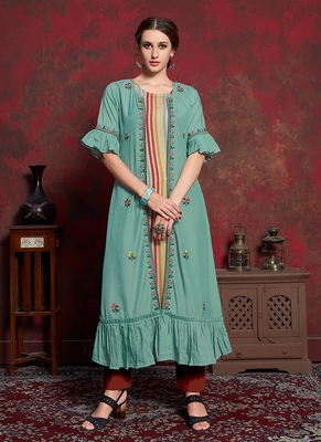 multicolor Rayon Cotton Kurti with long Jacket