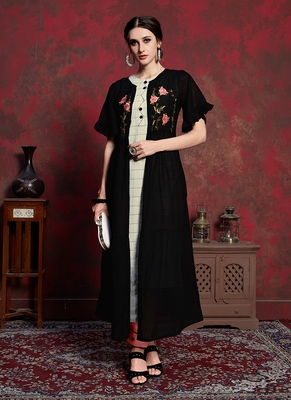 off white Rayon Cotton Kurti with long Jacket