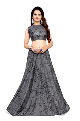 Light-grey foilage print art silk stitched lehenga