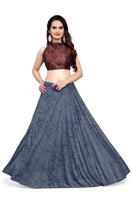 Blue foilage print art silk stitched lehenga