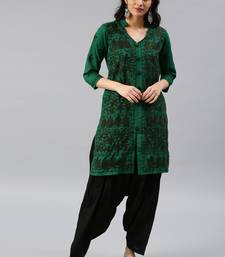 Dark-green hand woven cotton chikankari-kurtis