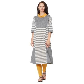 Women's Grey Striped A-line Handloom Kurti