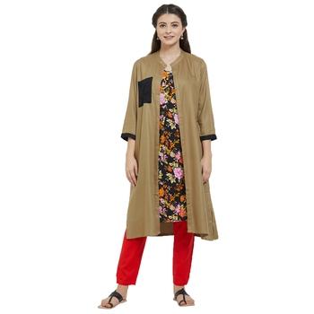 Women's Charcoal Cotton Kurti with Jacket
