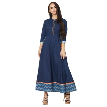Women's Blue Cotton Solid A-line Kurti