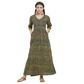 Women's Green Cotton Block Printed Kurti