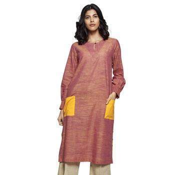 Women's Peach Cotton Full Sleeved Straight Kurti