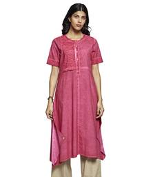 Women's Solid Pink Cotton Half Sleeved A-line Kurti