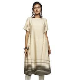 Women's Off White Cotton A-line Casual Kurti