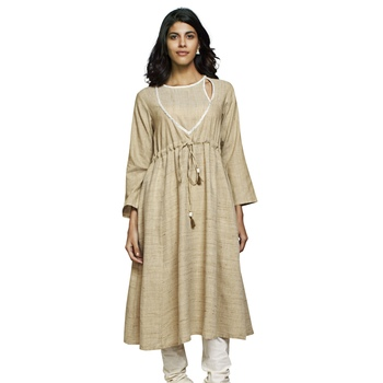 Women's Solid Off White Cotton Knee Length Anarkali Kurti