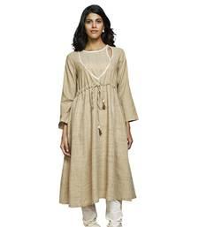 Women's Solid Off White Cotton Knee Length Anarkali Kurti