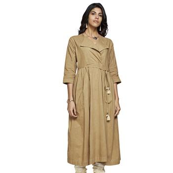 Women's Solid Beige Cotton Calf Length A-line Kurti