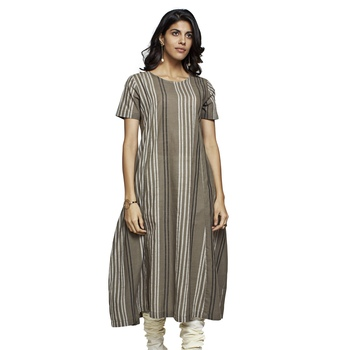 Women's Oak Cotton Stripes Printed Half Sleeved Kurti