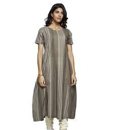 Women's Oak Cotton Stripes Printed Half Sleeved Kurti