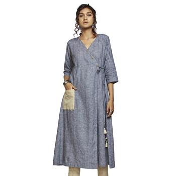 Women's Grey Cotton 3/4th Sleeved A-line Kurti