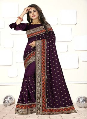 Dark purple embroidered art silk saree with blouse