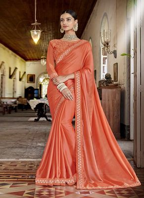 Dark coral embroidered silk saree with blouse