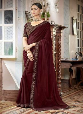 Coffee embroidered silk saree with blouse