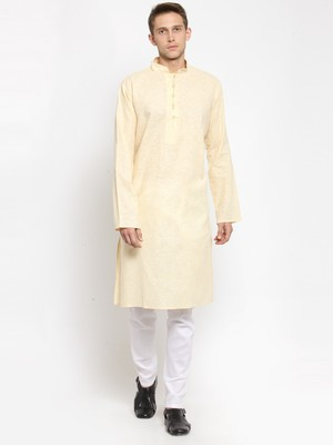 Yellow plain cotton kurta-pajama