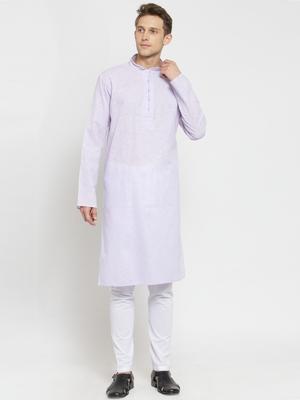 Purple plain cotton kurta-pajama