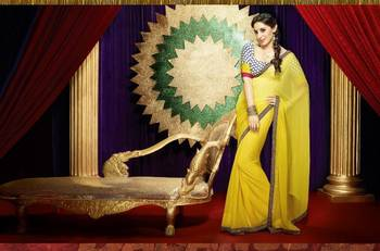 Bollywood Dabang2 Sonakshi Designer Chiffon Yellow Saree / No 7609