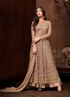 Brown Color Net Embroidered Semi-stitched Anarkali Suit