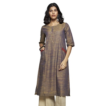 Beige plain cotton kurtas-and-kurtis